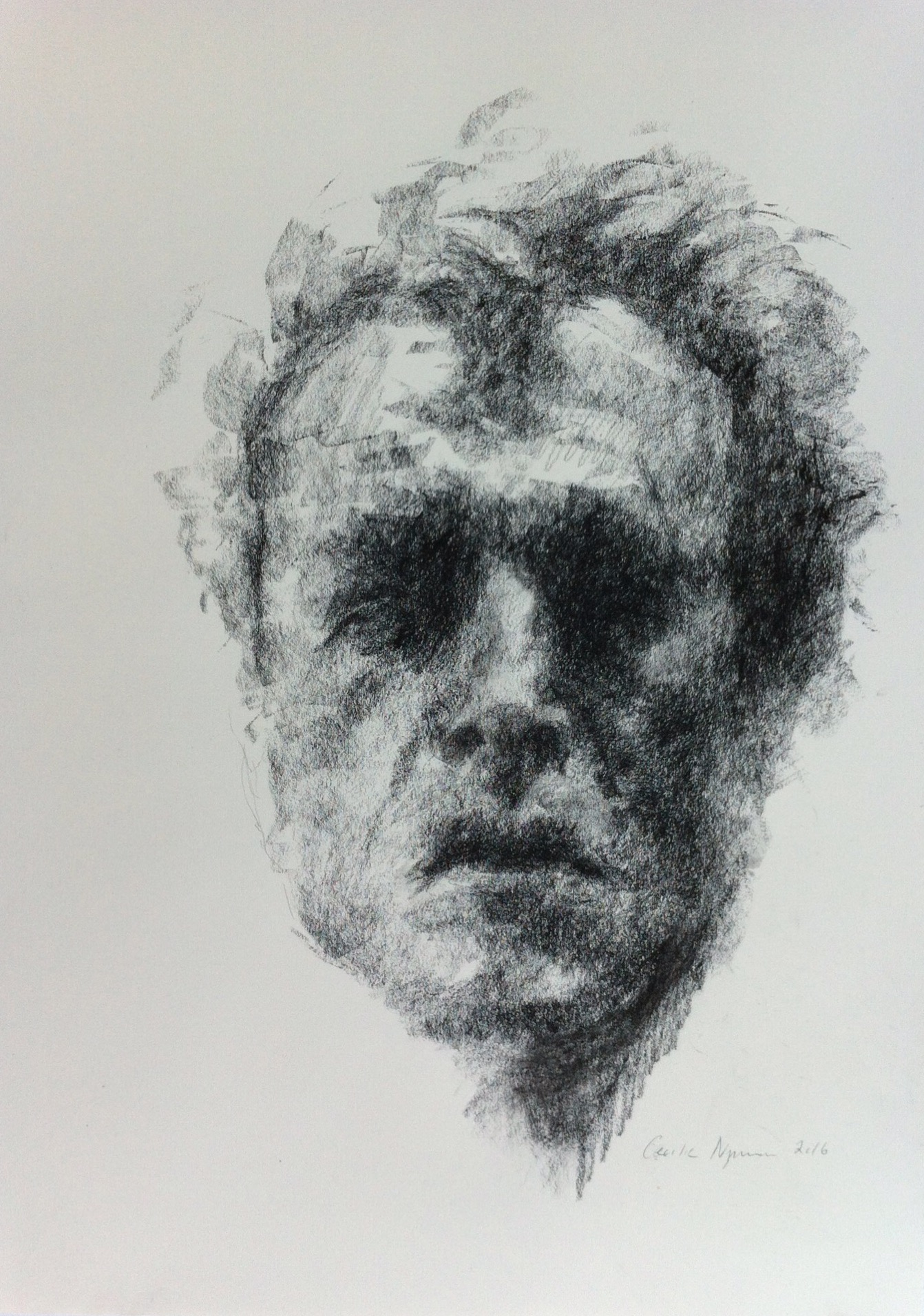 January Calendar 2016 : Black chalk drawings by cecilie nyman gallery